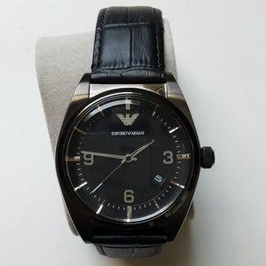 Emporio Armani Men's Leather Band Black Watch